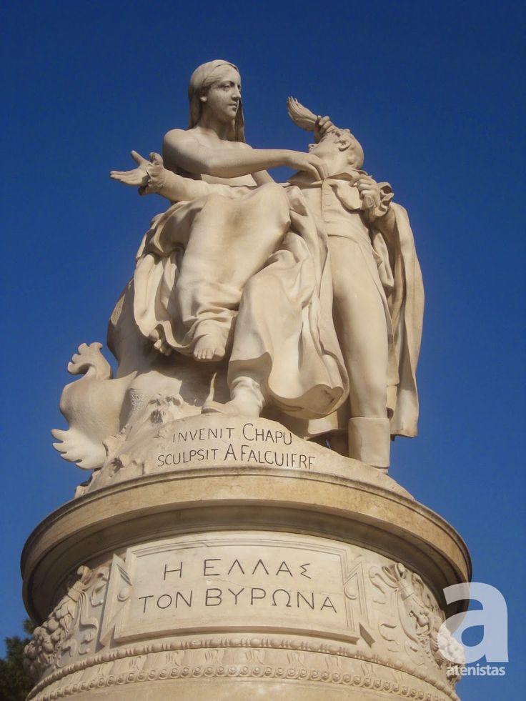 Η Ελλάς (στέφει) τον Βύρωνα - Greece crowns Byron | Γλυπτά της Αθήνας ::: AthensSculptures.com / atenistas