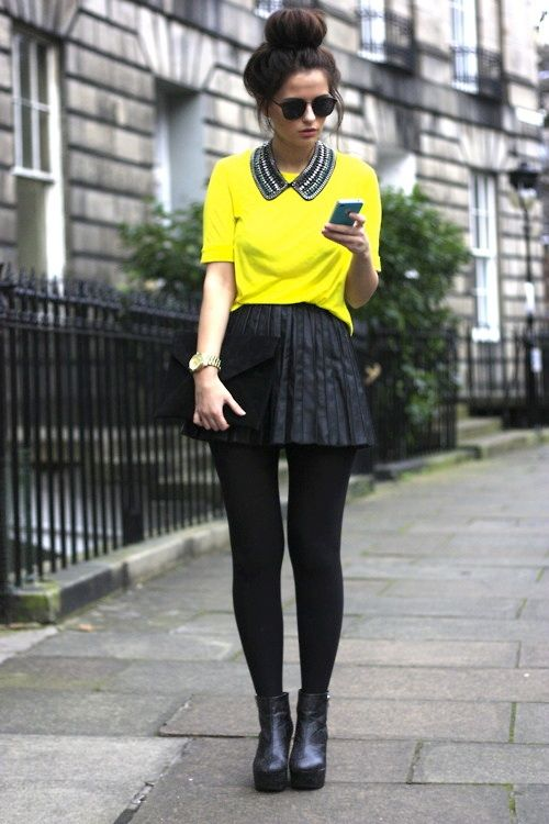 19 Yellow Fashion Trend?...skirt is too short , yeck!