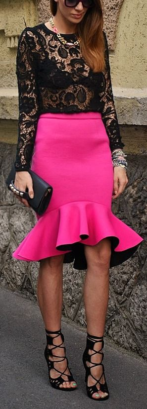 Lace up heel + neon pink skirt.