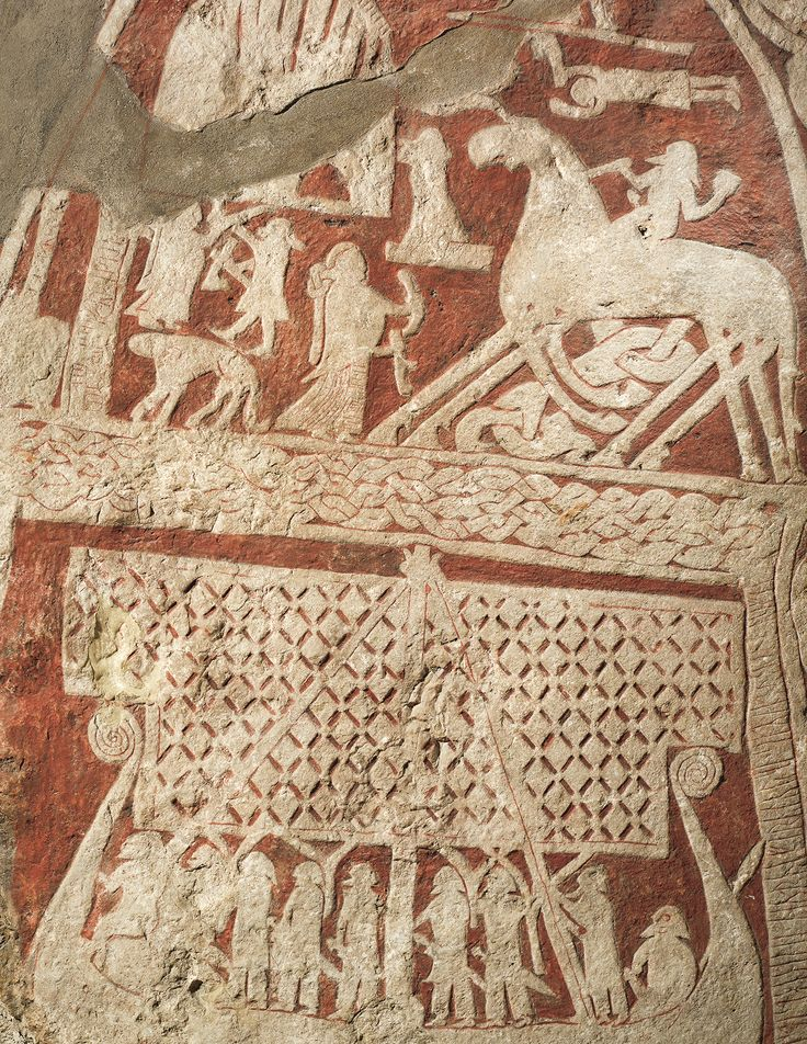 Close up of a picture stone from the Viking age, Gotland, Sweden.