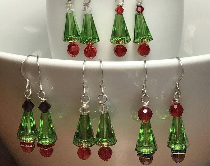 Pendientes árbol de Navidad, Navidad pendientes, pendientes de Swarovski, plata de ley, vacaciones pendientes