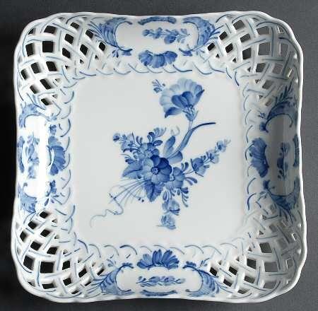Pierced Square Plate In The Blue Flowers Pattern By Royal Copenhagen