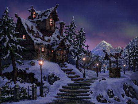 Winter - blue, drawings, digital painting, nature, houses, snow, winter, ice, season