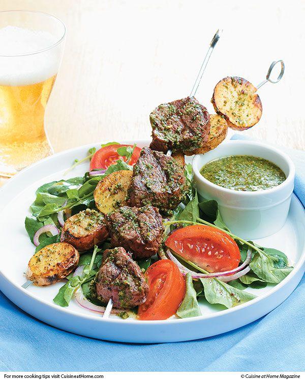 Grilled Steak & Potato Kebabs | Cuisine at home eRecipes