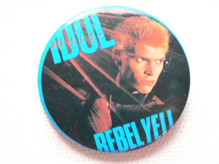 BIG Vintage 1980s Billy Idol - Rebel Yell Album (1983) Pin / Button / Badge by beatbopboom on Etsy