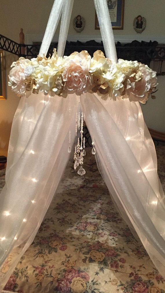 Shabby Chic Canopy-Baby Canopy-Crib Canopy-Bed Canopy-Flower Canopy-Beaded Canopy-Floral Canopy-Lighted Canopy-Reading Nook-Flower Mobile