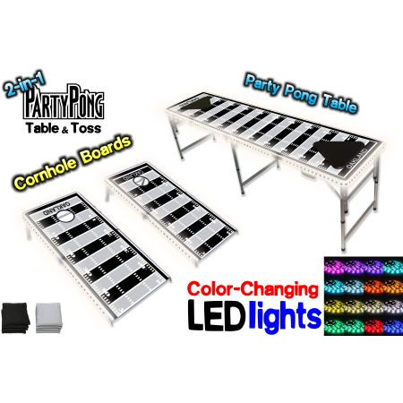 2-in-1 Cornhole Boards & Beer Pong Table w/ Color-Changing LED Glow Lights - Oakland Football Field, Silver