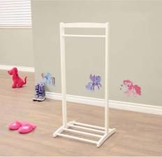 1-Hook Kid's Contemporary Wooden Cloths Hanger in White ...