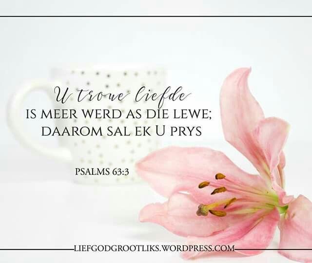 PSALMS 63:3 U troue liefde is meer werd as die lewe; daarom sal ek U prys. #LiefGodGrootliks –