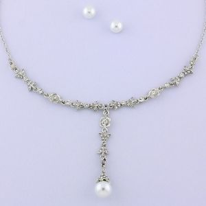 Rhodium-plated Czech Glass Pearl Necklace & Earring Set