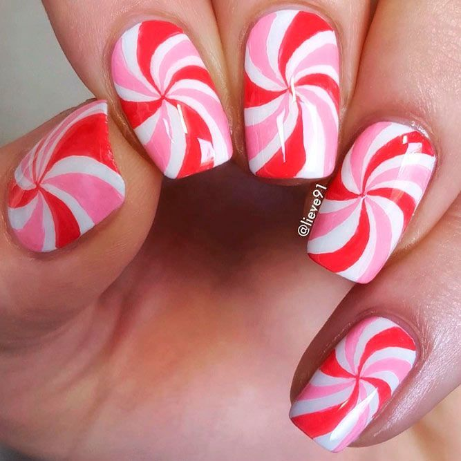 Candy Colored Pink And White Nails #candynailart #swirlnails ★ There is so much more to pink and white nails than you h…