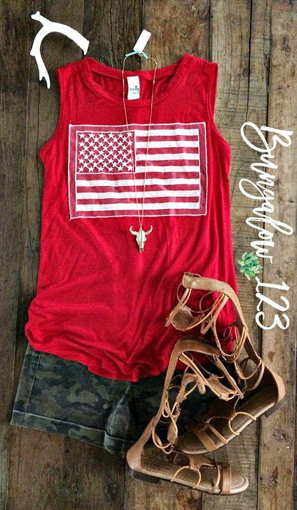 American Flag Tank - Red