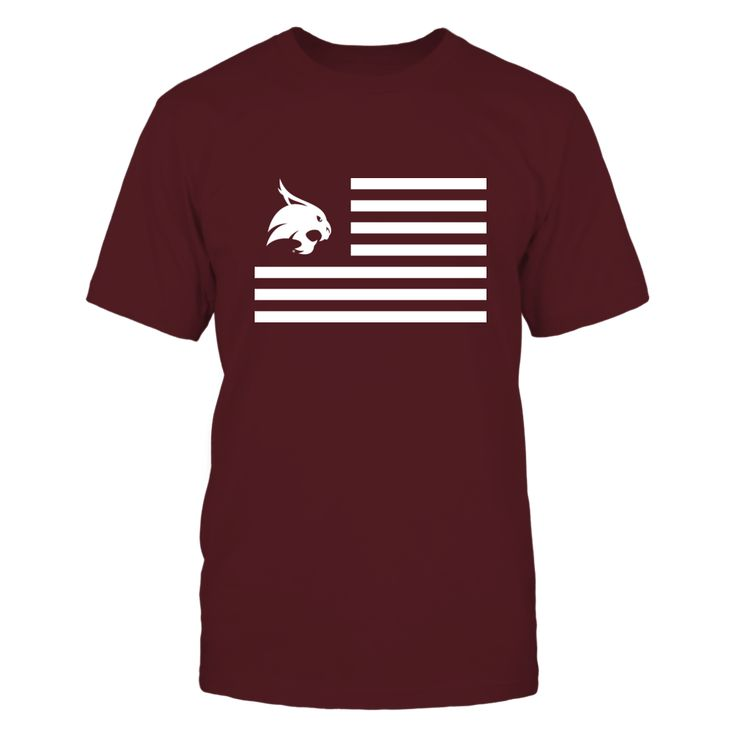 Texas State Bobcats - Flag Stripes T-Shirt, Texas State Bobcats Official Apparel This licensed gear is the perfect clothing for fans. Makes a fun gift!  The Texas State Bobcats Collection, OFFICIAL MERCHANDISE  Available Products:          Gildan Unisex T-Shirt - $24.95 Gildan Women's T-Shirt - $26.95 District Women's Premium T-Shirt - $29.95 Next Level Women's Premium Racerback Tank - $29.95 District Men's Premium T-Shirt - $27.95 Gildan Unisex Pullover Hoodie - $44.95 Gildan Long-Sleeve…