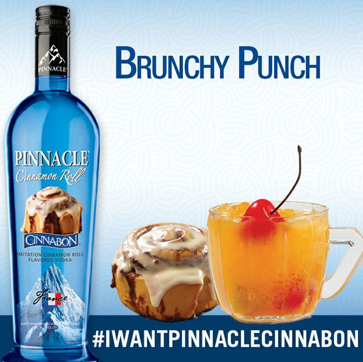 Brunchy Punch Ingredients: 750ml Pinnacle Cinnabon Vodka 1/2 liter cranberry juice 1/2 liter orange juice 1/2 liter club soda 1 orange Directions: Separate orange and mix ingredients in a bowl with ice.  Makes 12-15 servings.
