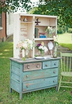 Love Old Dressers! I just saw pictures of a wedding where they used a bunch of old dressers and desks for the food! It was beautiful!: Vintage Dressers, Vintage Inspiration Wedding, Guest Books Tables, Wedding Ideas, Old Dressers, Shabby Chic, Distressed Furniture, Vintage Furniture, Rustic Wedding