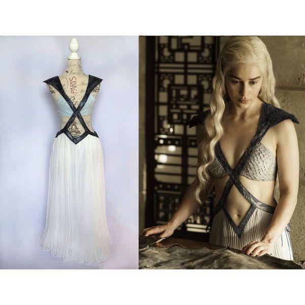 Game of Thrones Costume Daenerys Season 4 Meereen Dress Khaleesi... ($234) ❤ liked on Polyvore featuring costumes, dark olive, dresses, women's clothing, lady costumes, ladies halloween costumes, lady halloween costumes, snake lady costume and women's halloween costumes
