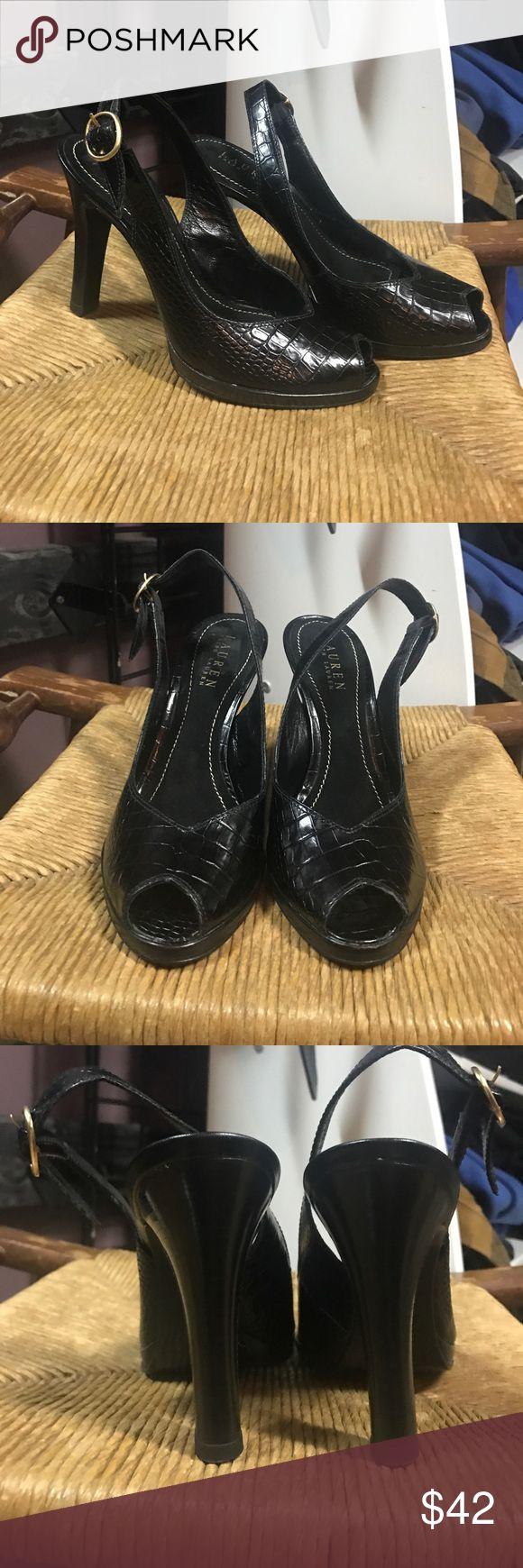 Lauren Ralph Lauren croc leather sling back heels Lauren Ralph Lauren, croc embossed, leather, peep toe, sling back, heels. Brand new condition Lauren Ralph Lauren Shoes Heels