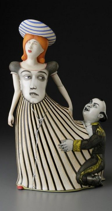 """""""Touch-Me-Not"""" 2015, porcelain, slip by Sergei Isupov (b 1963), a ceramic artist from Stavropol, Russia now living in MA, USA & Tallinn, Estonia. He was educated at the Ukrainian State Art School in Kiev & the Art Institute of Tallinn in Estonia obtaining a Bachelor of Arts & Master of Fine Arts degrees in ceramic art. He has exhibited widely in both solo & group exhibitions, received several awards & his work is held in many galleries & private collections / http://sergeiisupov.com/"""