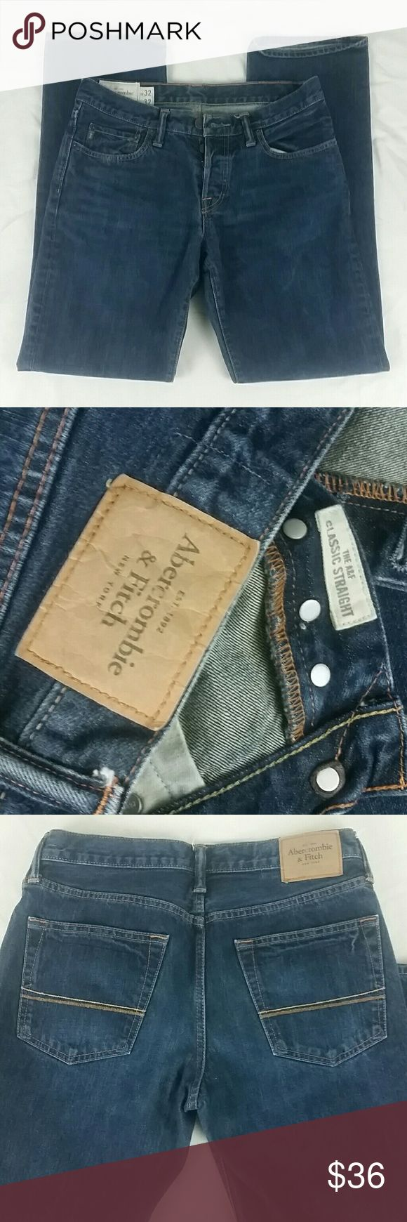 Abercrombie & Fitch button fly jeans 32?32 Abercrombie & Fitch button fly jeans   32?32 Classic Straight leg, dark wash. Abercrombie & Fitch Jeans Straight