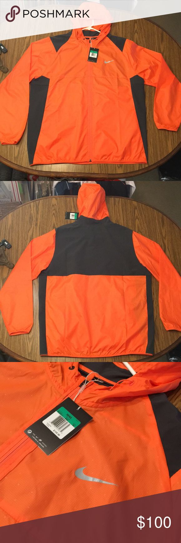 NIKE GOLF MEN XL JACKET NWT NIKE GOLF MEN XL JACKET NWT LIGHT WEIGHT JACKET JACKET THAT IS A FULL ZIP UP WITH A HOOD. JACKET HAS 2 ZIPPER POCKETS ONE AT EACH HIP JACKET HAS A COOL TRIANGLE DESIGN SPECKLED ACROSS THE JACKET  JACKET IS 29 inches from collar down to waist  25 inches from armpit to armpit  Any other questions please feel free to ask Nike Jackets & Coats Raincoats