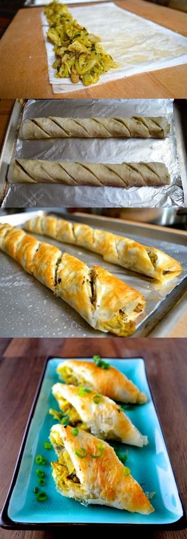 Curry Lime Chicken Phyllo Rolls