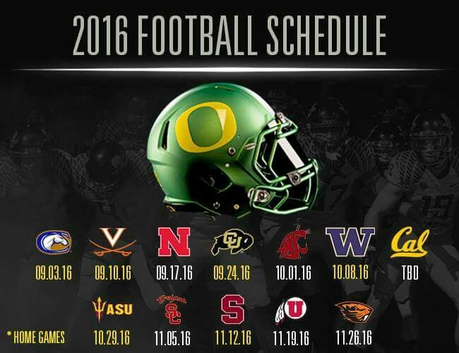 2016 Oregon Ducks football schedule. I like it. Strong schedule. Gotta be ready every week. Go Ducks!