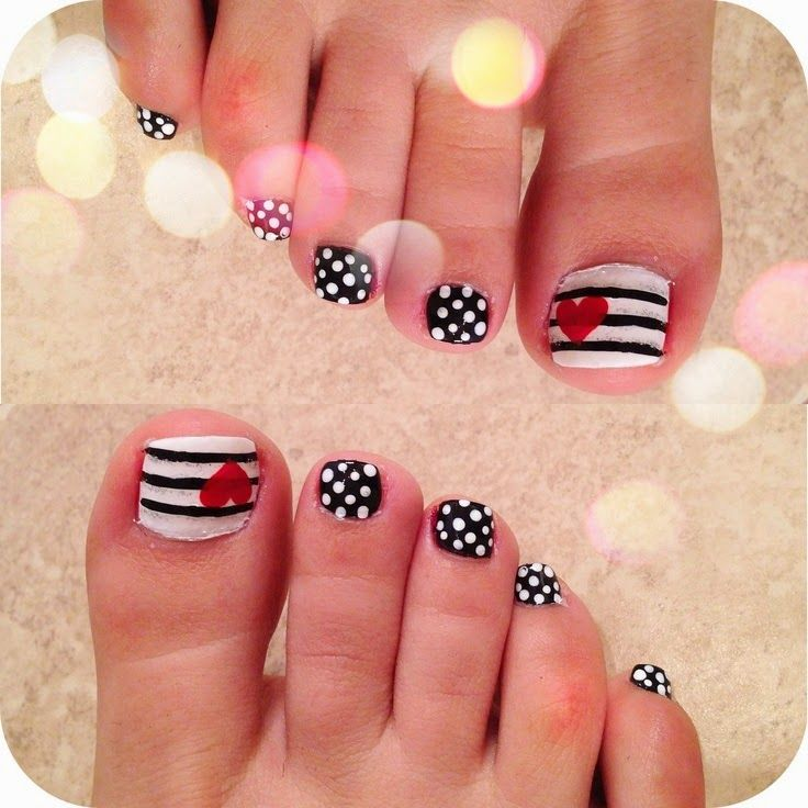 Cute Easy Toenail Designs hearts