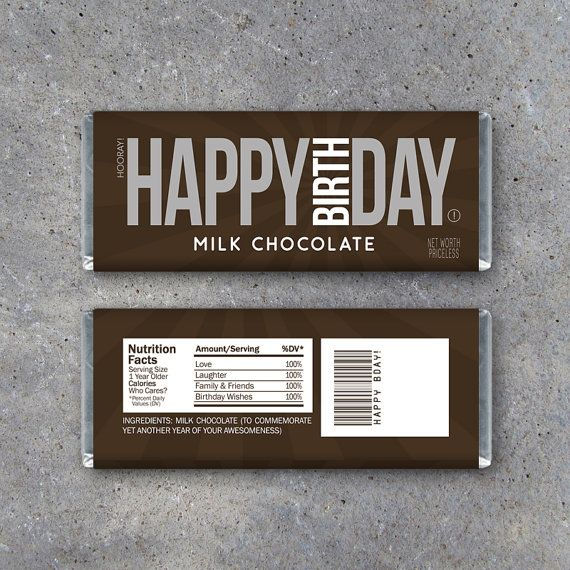 HAPPY BIRTHDAY Printable Candy Bar Wrappers – Use as a gift or gift tag! By Studio 120 Underground, $5.