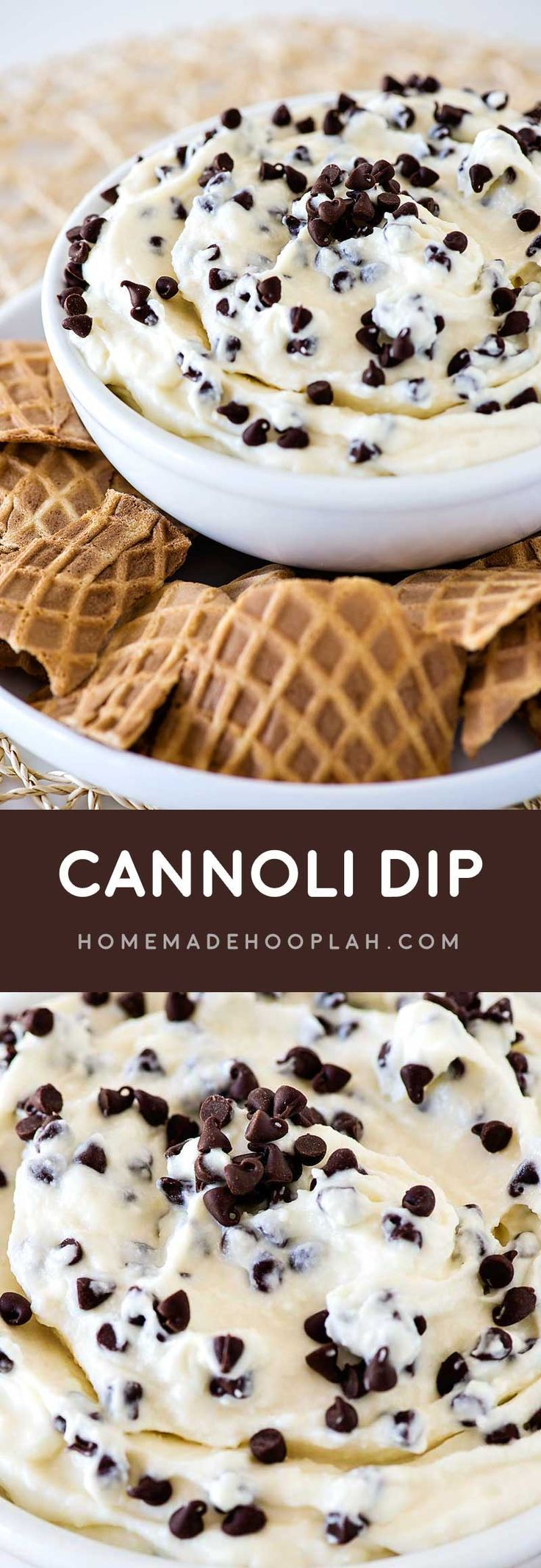 Cannoli Dip! An easy cannoli dip (that doesn't taste like cream cheese!) mixed with delicious mini chocolate chips and served with broken waffle cones for dipping.
