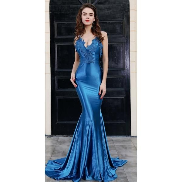 Blue Backless Stunning Evening Gown