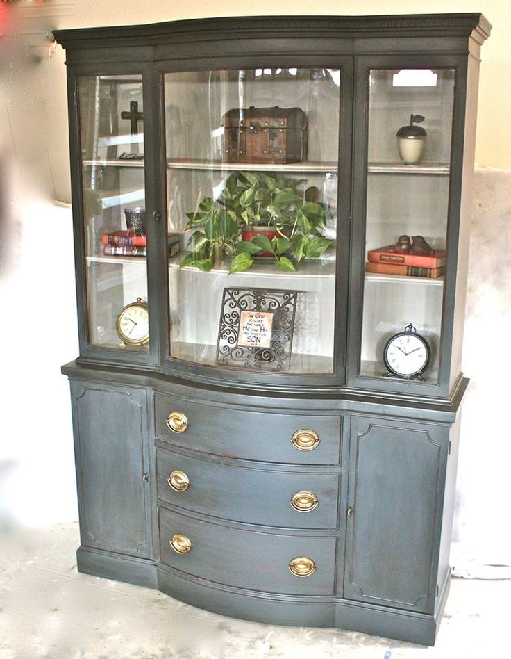 Antique chine cabinet painted with Grahphite Chalk Paint, distressed and then sealed with clear wax and dark wax. Inside was painted with an Old White and French Linen mix. Done by Yesterday's Treasures by Maddy. Visit my Facebook page! https://www.facebook.com/Yesterdays-Treasures-by-Maddy-520858771365674/?pnref=story
