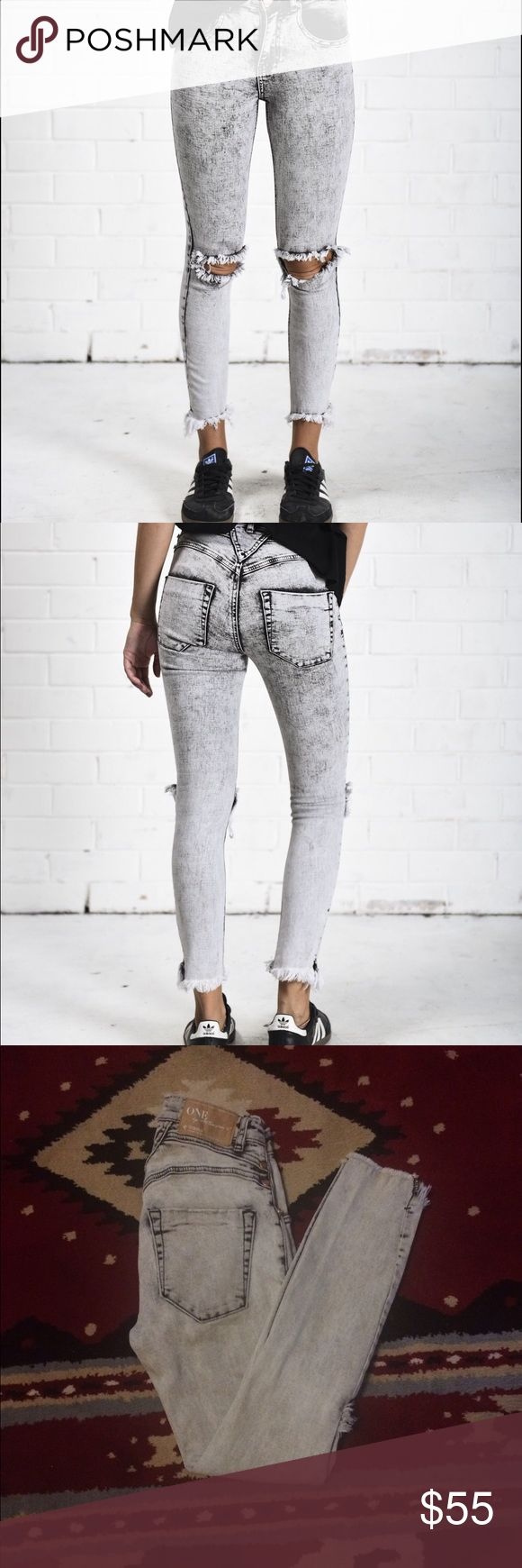 One Teaspoon Dixies Crop Skinny Jeans So Adorable fits true 24 high waisted cropped skinny jeans. One Teaspoon! I wish I looked good in high waist pants! One Teaspoon Pants Skinny