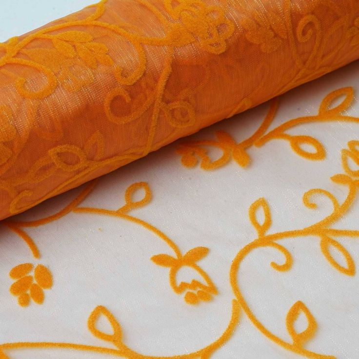 "Muchos Besos Embroider 12"" x 10 yards - Orange 