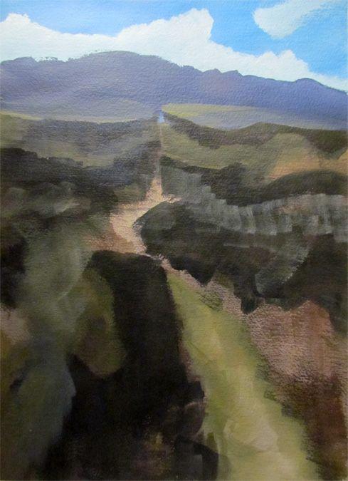 Rio Grande Gorge, Acrylic on Watercolour paper.