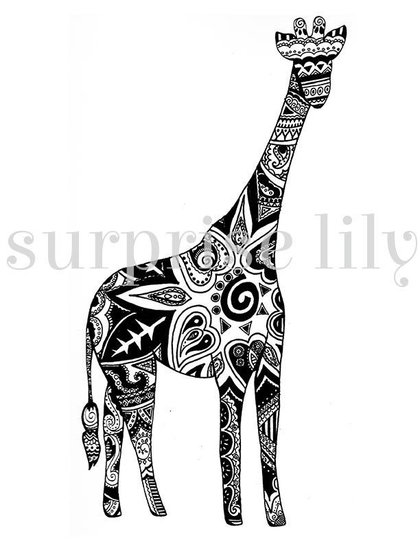 Giraffe Floral Coloring Page Book Digital Printable For Adults And Children Zentangle Henna Designs January 19