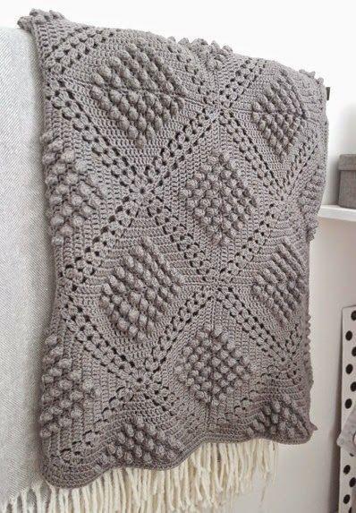 Mon Crochet : modèles gratuits: Couverture au crochet au point pop-corn - Modèle gratuit