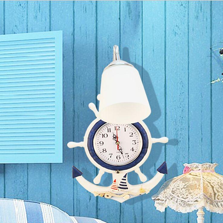 83.30$  Buy here - http://alihbr.worldwells.pw/go.php?t=32775820096 - Mediterranean Children's Wall Light E27 Lamp Wall Clock AC 110V-220V Indoor Lighting Child Room Wood Bedroom Lamp  83.30$