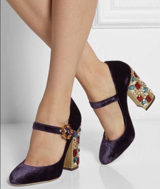 Vintage Pumps Womens Velvet Shoes Chunky Heels Rhinestones Buckles Wedding I557  #Unbranded #MaryJanes