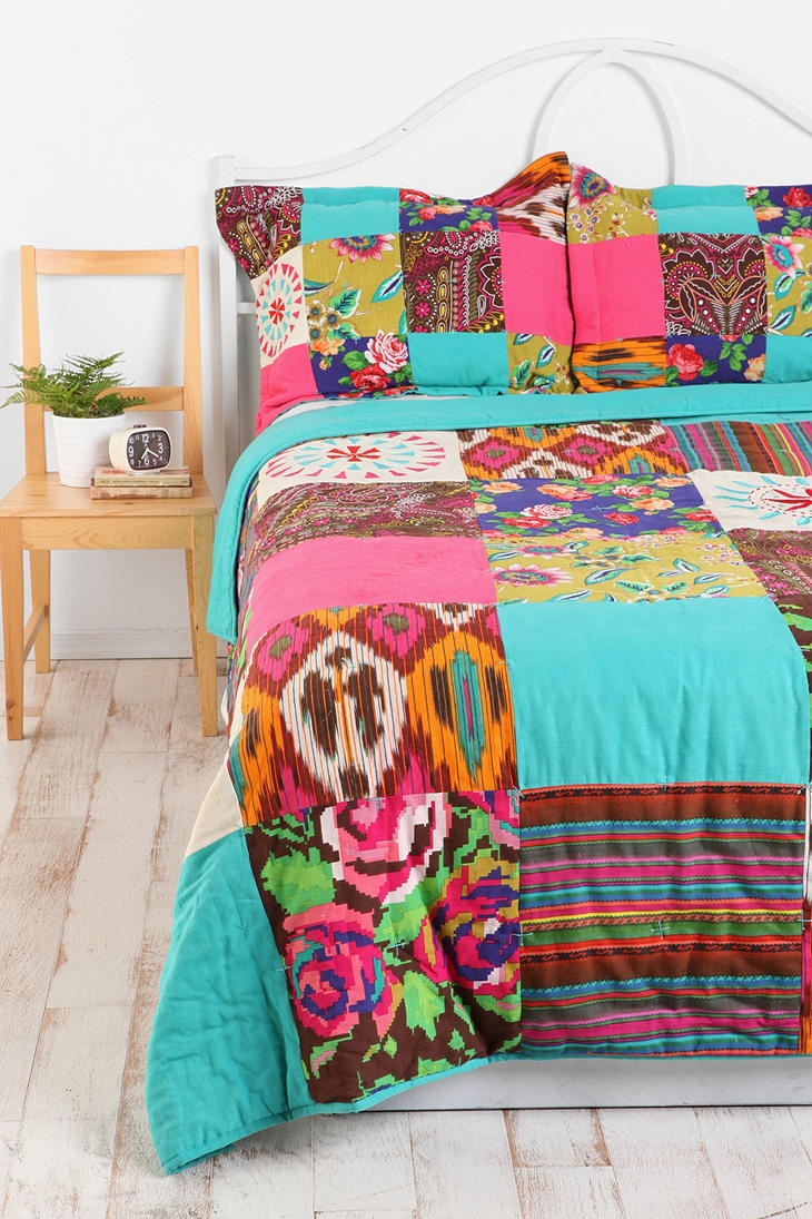 Totes just got this for my bedroom!!! I am so excited about it! If I had bought it yesterday I would've paid $120 instead of $80 for the comforter and $40 for the shams instead of $20 #winning Floral Ikat Patchwork Quilt  #UrbanOutfitters