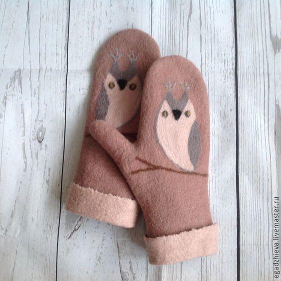 Купить Варежки валяные сова рукавички валяние - бежевый, рисунок, совы, совы варежки, карамельный