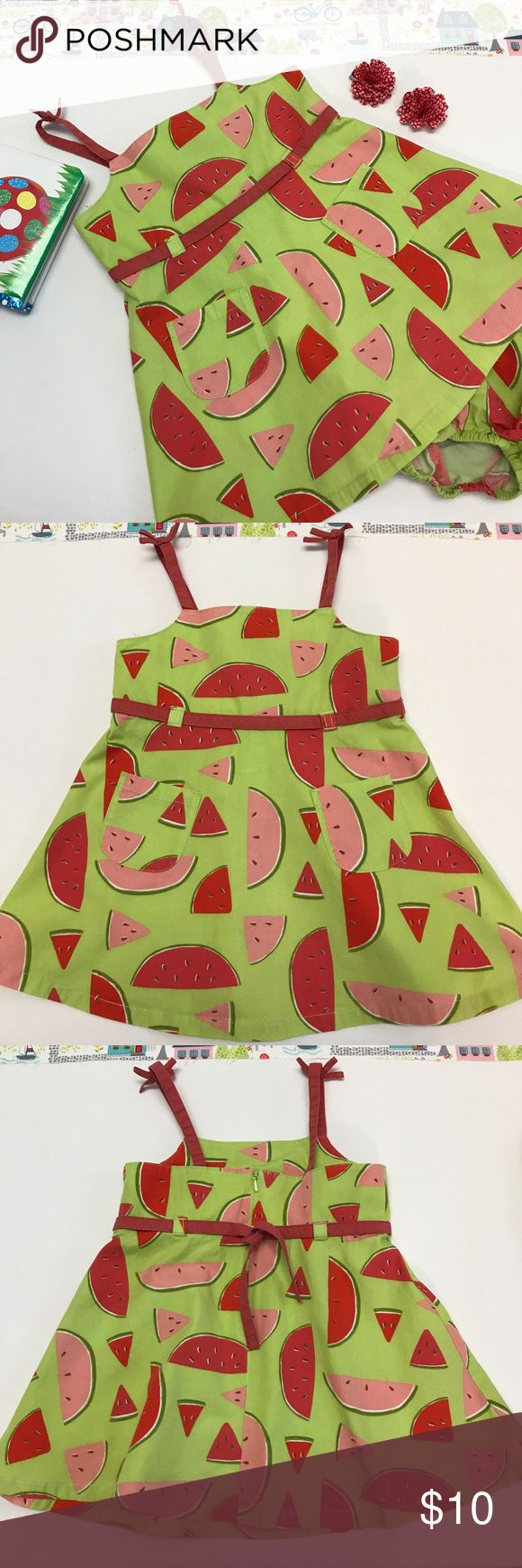 Watermelon Summer Dress & Diaper Cover, Size 18-24 Cute little summer dress in lime green with watermelon slices and a matching diaper cover. By Gymboree.  The dress is in good condition however the red ribbon around the waist and the spaghetti strap sleeves has faded due to washings.  The price has been adjusted to reflect.  The dress has been washed in Dreft and comes from a smoke-free home. Gymboree Dresses Casual