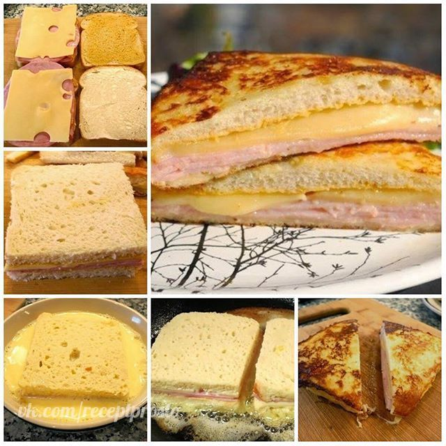 """Сэндвич """"Монте-Кристо"""" Количество порций: 2 шт. Ингредиенты: Мягкий тостовый хлеб — 4 ломтика Горчица — 2 ч. л. Майонез — 2 ч. л. Большие тонкие ломтики нарезки (ветчина, нарезка из грудки индейки) — 4 шт. Ломтики сыра средней твердости — 2 шт. Яйца — 1 шт. Молоко — 2 ст. л. Соль — 1 щепотка Сливочное масло — 2 ст. л. Приготовление: 1. Все 4 ломтика хлеба смазываем майонезом или горчицей (можно и тем, и другим). 2. На 2 ломтика кладем нарезку. 3. Сверху на нарезку кладем сыр (в…"""