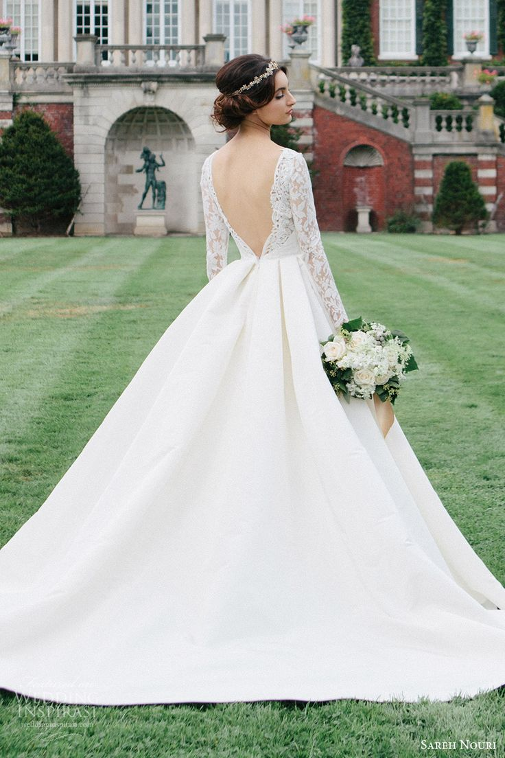sareh nouri bridal fall 2016 long sleeve deep vneck aline ball gown wedding dress (laylee) bv  train plunging back romantic elegant