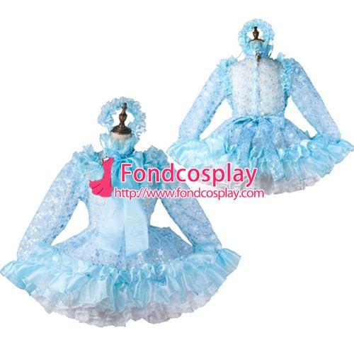 Sissy maid satin dress lockable Uniform cosplay costume Tailor-made[G2208]
