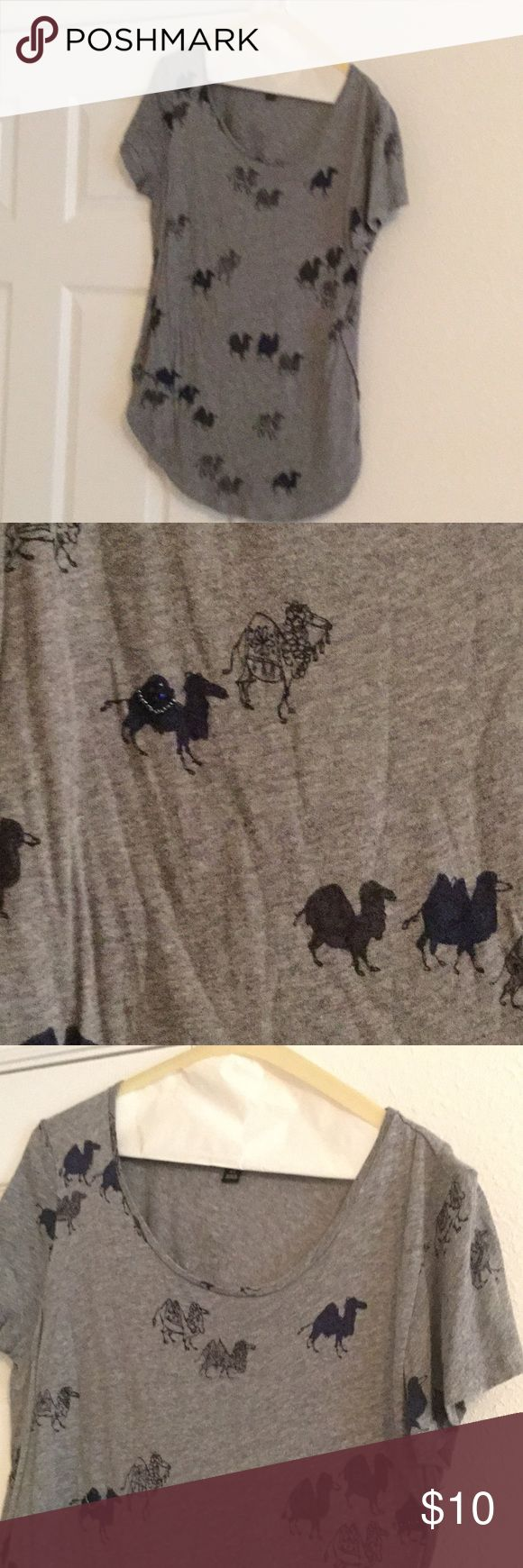 Gray Camel Shirt Gray Camel Shirt, some of the camels have sparkle details. Size XS LOFT Tops Tees - Short Sleeve