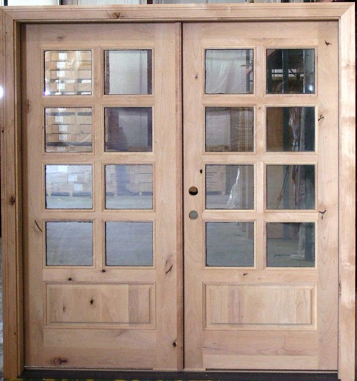 Shaker style interior french doors alder exterior french for Double entry patio doors