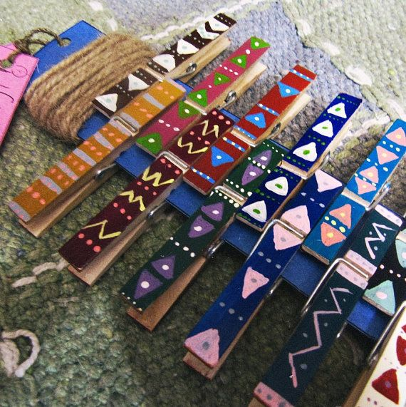 -- Made 2 Order --  Aztec pattern handpainted wooden clothespins photo/cards display kit. OOAK.   Available kits: Six clothespins + jute rope + gift pack Dozen clothespins ...