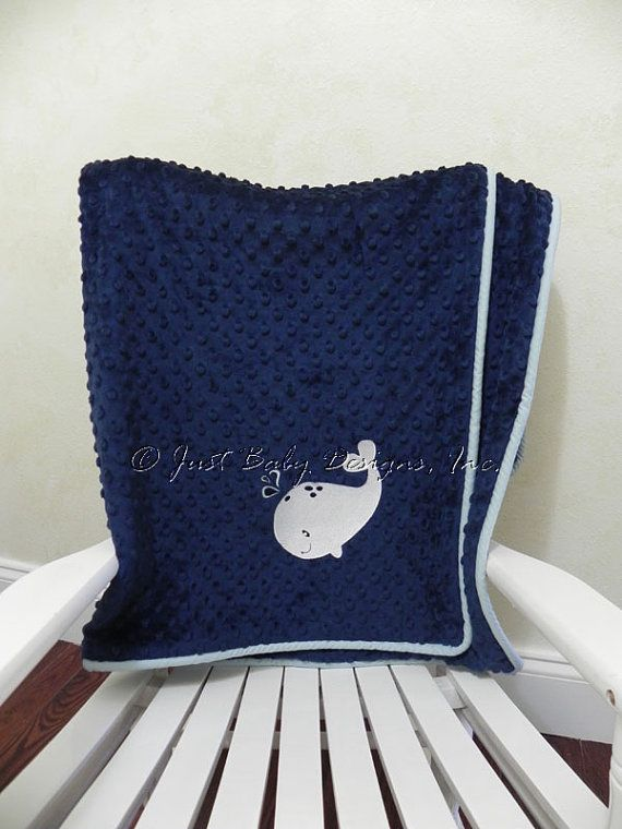 Rail Guard measures 50 x 17 (folds over about 8 on each side of rail) Minky Dot White Crib Sheet Crib Skirt has 4 sides and 17 drop 36 x 36 baby blanket in navy minky dot fabric with solid dusty blue cording and whale design Add matching pillow here: https://www.etsy.com/listing/473642785/accent-pillow-with-cording-whales-navy?ref=shop_home_active_55 Add matching side rail guards here: (choose 17 size with piping) https://www.etsy.com/listing...
