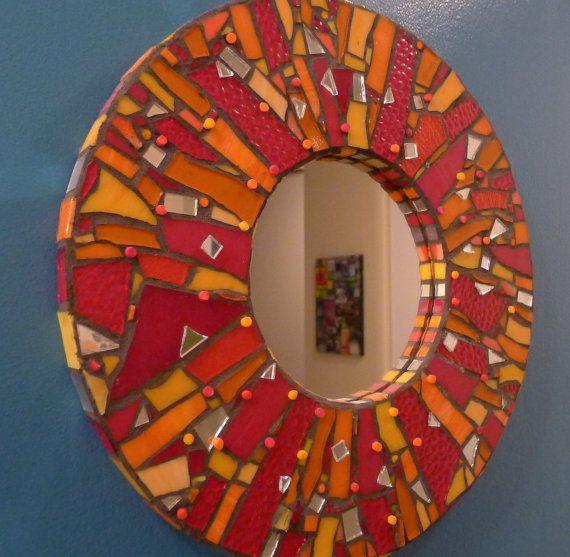 Red Broken Colored glass mirror via Etsy