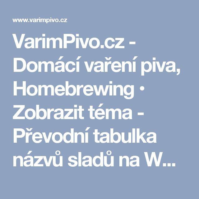 VarimPivo.cz - Domácí vaření piva, Homebrewing • Zobrazit téma - Převodní tabulka názvů sladů na Weyermannovské